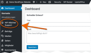 Position des WordPress Website Support von WP Wächter im Dashboard
